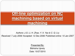 Off-line optimization on NC machining based on virtual machining