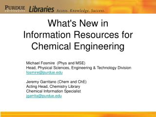 What's New in Information Resources for Chemical Engineering