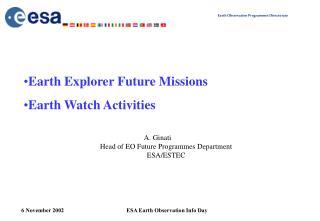 A. Ginati Head of EO Future Programmes Department ESA/ESTEC