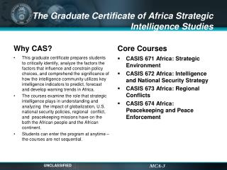 The Graduate Certificate of Africa Strategic Intelligence Studies