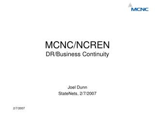 MCNC/NCREN DR/Business Continuity