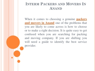 Best Packers And Movers In Anand