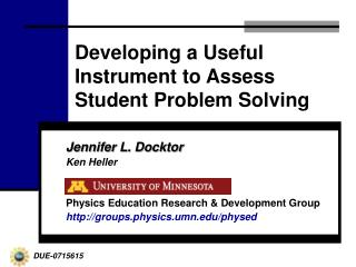 Developing a Useful Instrument to Assess Student Problem Solving