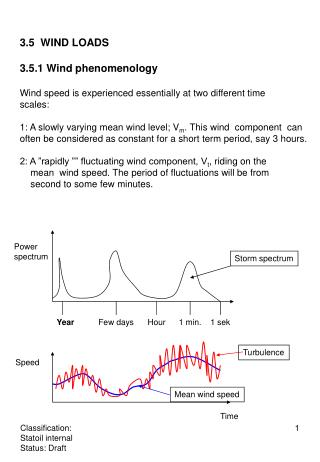 3.5 WIND LOADS 3.5.1 Wind phenomenology Wind speed is experienced essentially at two different time scales: