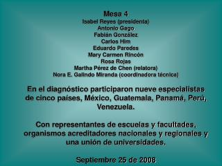 Mesa 4 Isabel Reyes (presidenta) Antonio Gago Fabián González Carlos Him Eduardo Paredes Mary Carmen Rincón Rosa Rojas M