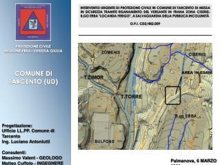 P rogettazione: Ufficio LL.PP. Comune di Tarcento Ing. Luciano Antoniutti Consulenti: Massimo Valent - GEOLOGO Matteo C