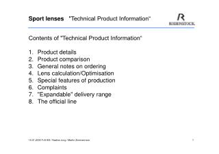 "Sport lenses    ""Technical Product Information"""