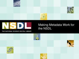 Making Metadata Work for the NSDL