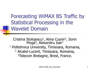 Forecasting WiMAX BS Traffic by Statistical Processing in the Wavelet Domain