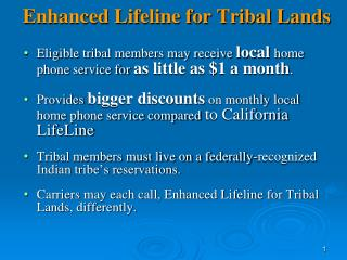 Enhanced Lifeline for Tribal Lands