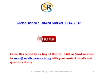 Global Mobile DRAM market to grow at a CAGR of 10.4 percent