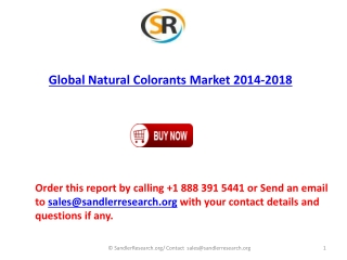 Global Natural Colorants market to grow at a CAGR of 6.51 pe
