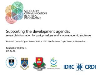 Supporting the development agenda: research information for policy-makers and a non-academic audience