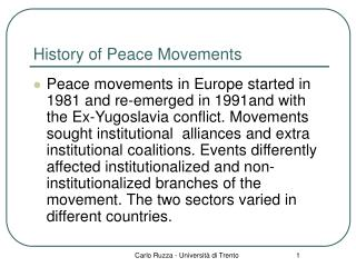 History of Peace Movements
