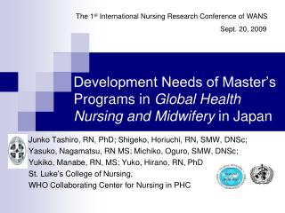 Development Needs of Master's Programs in Global Health Nursing and Midwifery in Japan