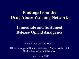 Findings from the Drug Abuse Warning Network