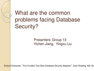 What are the common problems facing Database Security?