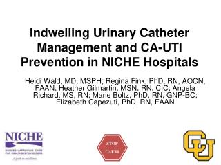 Indwelling Urinary Catheter Management and CA-UTI Prevention in NICHE Hospitals