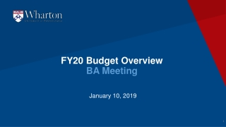 FY20 Budget Overview BA Meeting