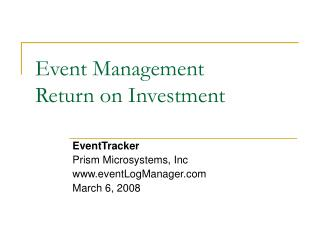 Event Management Return on Investment