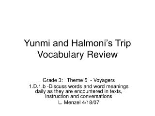 Yunmi and Halmoni's Trip Vocabulary Review