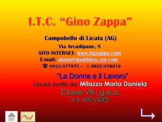 """""""La Donna e il Lavoro"""" Lavoro svolto da: Milazzo Maria Daniela Classe VB i.g.e.a. A.S. 2001/2002"""
