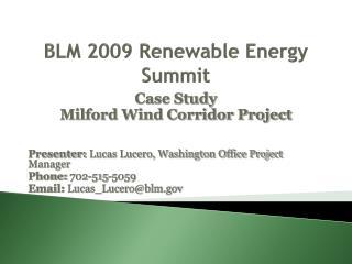 BLM 2009 Renewable Energy Summit