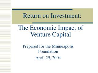 The Economic Impact of Venture Capital