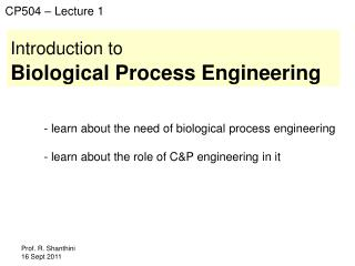 Introduction to Biological Process Engineering