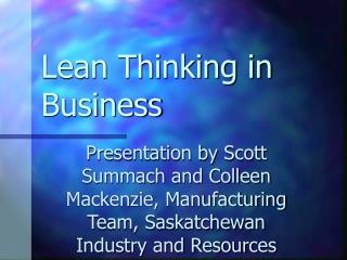 Lean Thinking in Business