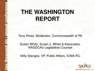 THE WASHINGTON REPORT