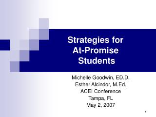 Strategies for  At-Promise   Students