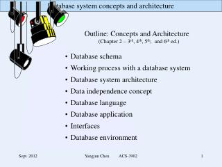 Outline: Concepts and Architecture 		(Chapter 2 – 3 rd , 4 th , 5 th ,  and 6 th  ed.)  Database schema Working proces