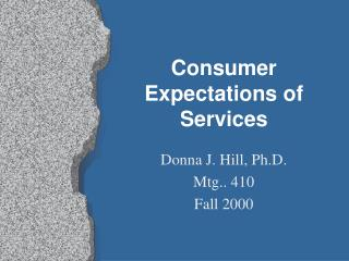 consumer expectations of services