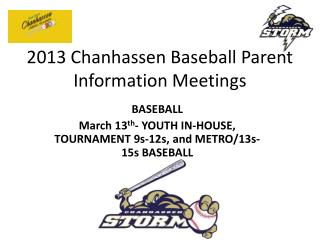 2013 Chanhassen Baseball Parent Information Meetings