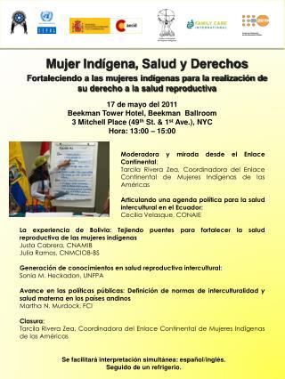 Mujer Ind ígena , Salud y Derechos Fortaleciendo a las mujeres indígenas para la realización de su derecho a la salud r