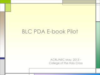 BLC PDA E-book Pilot