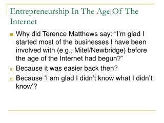 Entrepreneurship In The Age Of The Internet