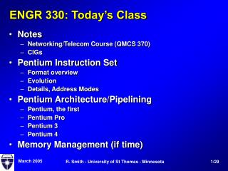 ENGR 330: Today's Class