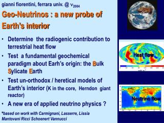 Geo-Neutrinos : a new probe of Earth s interior
