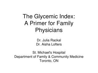 The Glycemic Index:  A Primer for Family Physicians