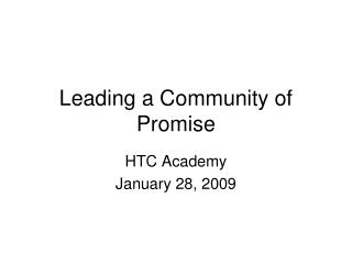 Leading a Community of Promise