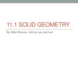 11.1 Solid geometry