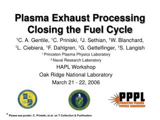 Plasma Exhaust Processing Closing the Fuel Cycle