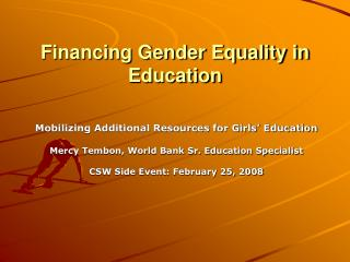Financing Gender Equality in Education