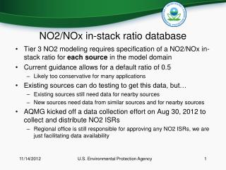 NO2/NOx in-stack ratio database