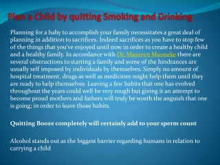 Plan a Child by quitting Smoking and Drinking