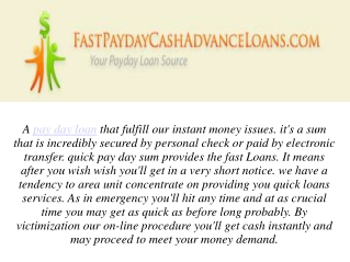 Fast Cash Payday Loan