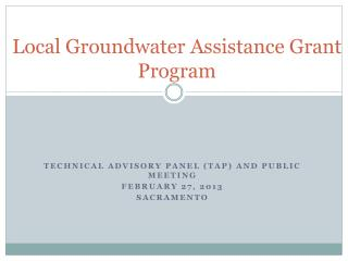 Local Groundwater Assistance Grant Program
