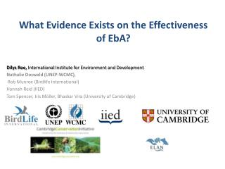 What  Evidence Exists on the Effectiveness of  EbA ?